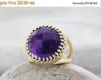 Amethyst ring,14k gold ring,February birthstone ring,gemstone ring,statement ring,anniversary gift