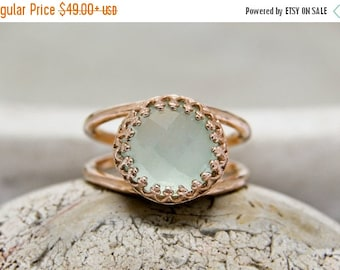 SUMMER SALE - Aqua Blue Chalcedony Ring,rose gold ring,double band ring,stone ring,stacking ring