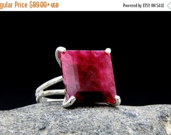 SUMMER SALE - silver ruby ring,ruby gemstone ring,square silver ring,large cocktail ring,statement ring