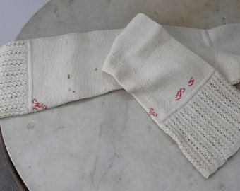 "VICTORIAN KNITTED STOCKINGS Handmade White Cotton Crocheted Banded Top Red Squiggle Design 21+"" L Rare American 1880-1900's Free Shipping!"