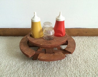 1970s Salt and Pepper shakers / ketchup mustard condiment bottles / picnic table / cookout / camp out / campside