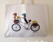Dachshunds on Bicycle Large Cotton Twill Tote