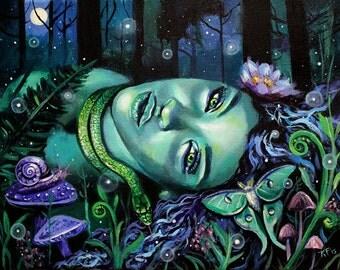 "14 x 11, Fine Art Print, ""Gaia's Lullaby"", painting by Kamille Freske, Mother Earth, pagan art, wiccan art, fantasy art, fairy art, goddess"