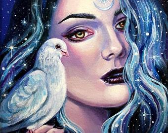 "12 x 12, Fine Art Print, ""Astarte"", painting by Kamille Freske, pagan art, wiccan art, fantasy art, surreal, wicca, fairy art, goddess"