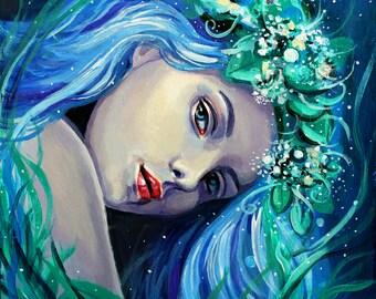 "12 x 12, Fine Art Print, ""Thalia"", painting by Kamille Freske, mythology, pagan art, wiccan art, fantasy art, fairy art, goddess art, faerie"