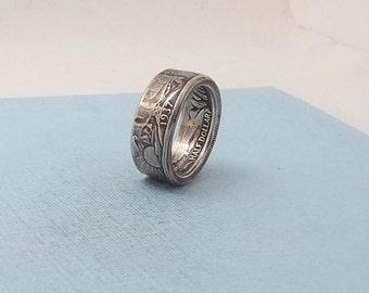 Unique Gift, Silver coin ring walking liberty half dollar 90% fine silver jewelry year 1937 size 9 1/2.  Free Shipping