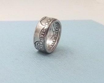 Silver coin ring Barber half dollar, 90% fine silver jewelry year 1915 size 10 1/2