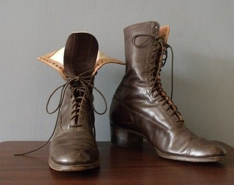 1910s Titanic Lace Up Steampunk Brown Leather Booties