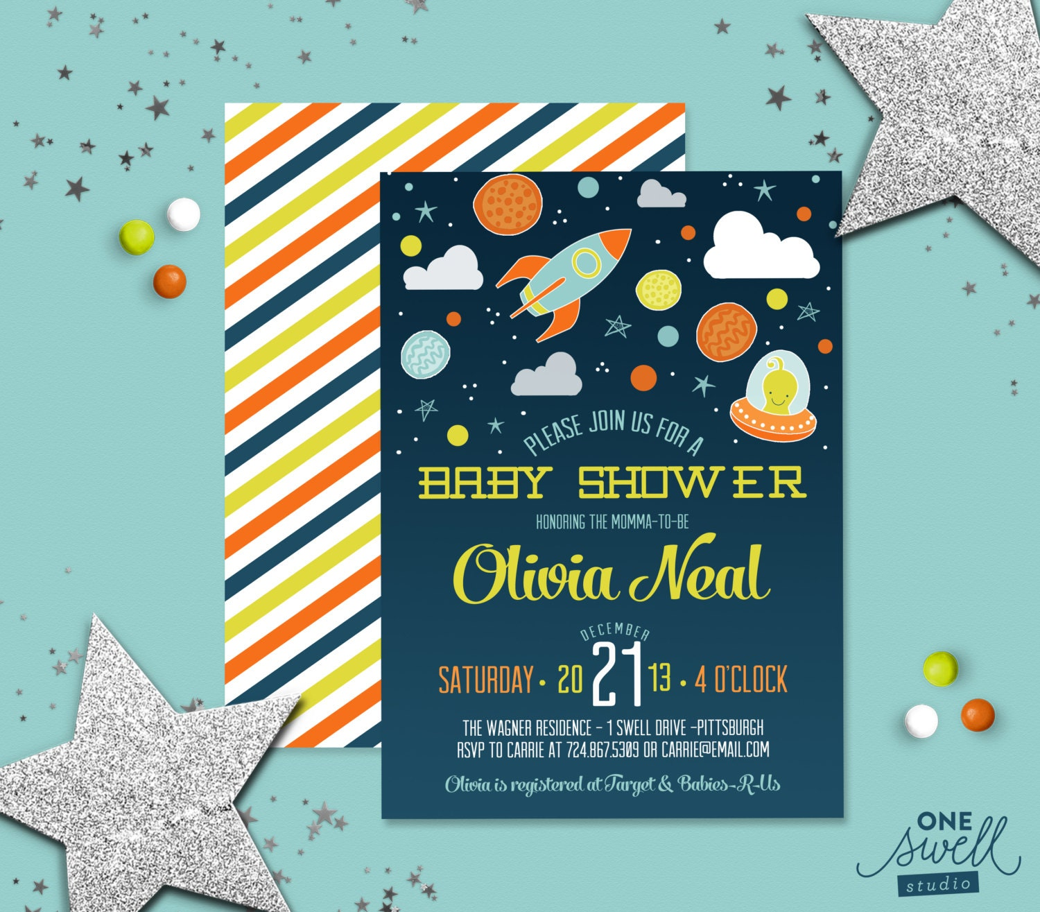 Space baby shower moon star alien invitation baby shower for Space themed stationery