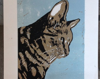 Hand Printed Limited Edition- 3 Colour Tabby Cat Lino Print - A4
