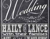 Chalkboard Wedding Invitations, Typography, Custom Wedding Invitation Listing for hailymeagan