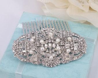 Bella - Vintage Style Freshwater Pearl and Rhinestone Bridal Comb