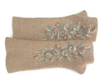 Long Felted Fingerless gloves Fingerless Mittens Arm warmers Gloves Pastel Rose