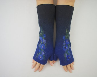 Long Felted Fingerless gloves Fingerless Mittens Arm warmers Gloves -Black, Navy blue