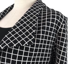 Sale!!! Plus Size Plaid Cropped Jacket / Plus size blazer / Trendy plus size clothing / Black / Size xl - 1x - 2x - 3x