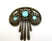 Reserved for Schneckedesigns ... Antique Vintage Czech Brooch Blue Stones Dangling Pin Art Deco Nouveau