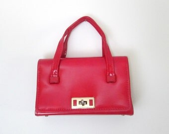 1960s Red Patent Leather Handbag Small Double Top Handle Roomy Mid Century Bag