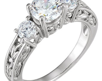 1.50 Ct 3 Stones Brilliant Cut Moissanite Solid 14K White Gold Antique Style Diamond Engagement Ring ENR732