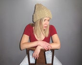 Chunky Knit Hat - Stocking Cap Beige Unisex Over-sized Winter VTG - Hat
