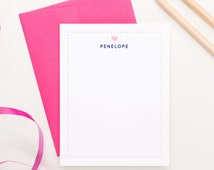 Kids Stationery set for girls - heart and poka dots personalized with name, PH011