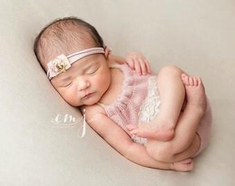 newborn halter one-piece with vintage lace