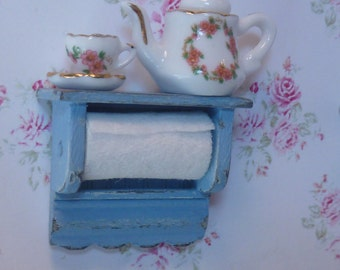 Shabby Chic Country Paper TowelHolder for Dollhouse