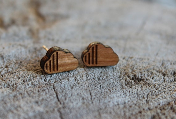mignonnes puces en bois nuage cute studs earrings wood. Black Bedroom Furniture Sets. Home Design Ideas