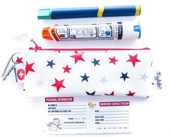 Single EpiPen Case / Insulin Pen Case with Medical ID Card - Stars Oilcloth (Vinyl-Coated)