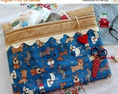 SALE Paw Prints Dogs Cross Stitch, Sewing, Embroidery Project Bag