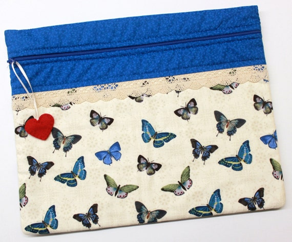 Blue Butterflies Cross Stitch Embroidery Project Bag