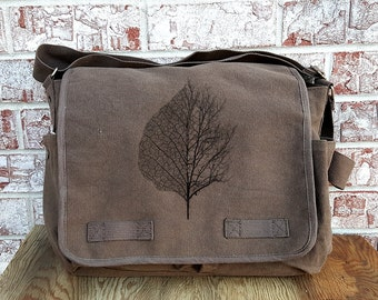 Cotton Canvas Messenger Bag - Leaf and Tree Illustration - Screen Printed Messenger Bag