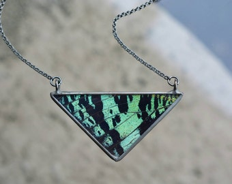 Teal and Black Triangle Necklace - Sunset Moth Wing