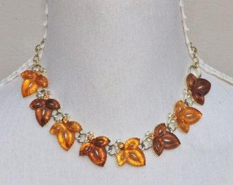 Vintage LISNER Jelly Lucite Leaf Choker,Fall Autumn Colors Vintage Leaf Necklace,Carved Lucite,Gold Necklace,Designer Jewel Necklace,Womens