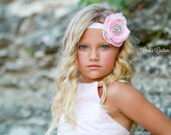 Pink Ivory Headband for Flower Girls, Weddings, Birthdays, Pink Satin, Ivory Lace, Rhinestone, Elastic Headband for Girls