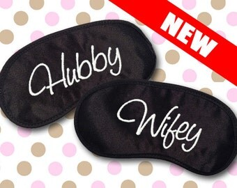 Wifey and Hubby Custom Made Embroidered Eye Masks - SALE  - favorite on pinterest tumblr instagram polyvore