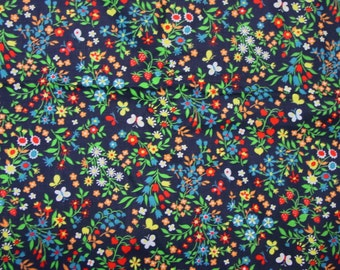 """Pretty Vintage Cotton Fabric c.1960's 4 Yards, 44"""" Wide Colorful Floral on Black"""