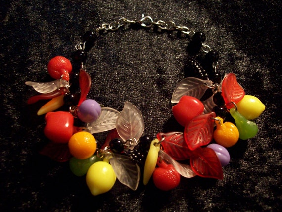 New 1940s Costume Jewelry: Necklaces, Earrings, Pins Vintage Reproduction 1940s 1950s Plastic Fruit Charm Bracelet $11.00 AT vintagedancer.com