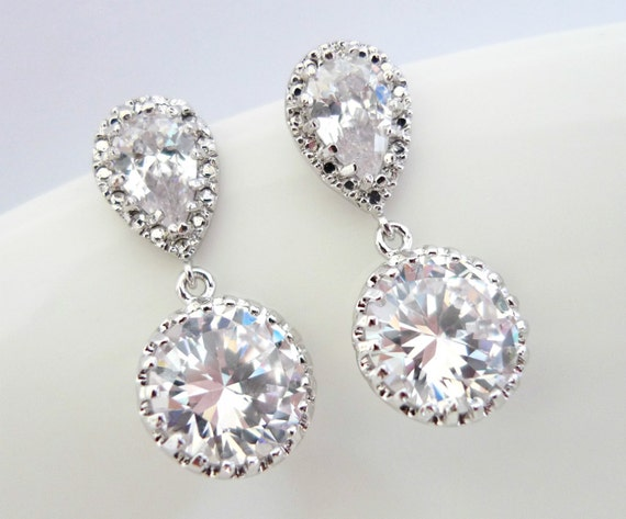 Cubic Zirconia Bridesmaids Earrings - Classic Sparkling Wedding Bridal Round CZ Earrings - Formal Earrings, Prom Earrings