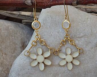 Floral Earrings, White Enamel Earrings, Chanel Earrings Inspired , White Milk Earrings, Swarovski Drop Earrings, Gold Earrings. For bridal
