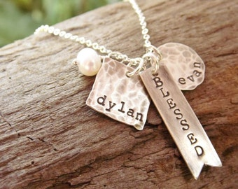 Blessed Pendant, Rustic Sterling Silver Jewelry,  Mom Mother Jewelry, Distressed Name Necklace, Personalized Jewelry