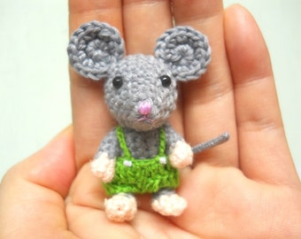 Mini Crochet Mouse Boy - Amigurumi Miniature Stuffed Animals - Made To Order