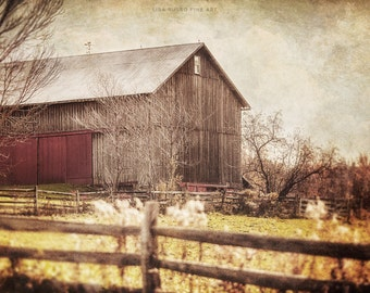 Rustic Country Landscape, Farmhouse Decor, Barn Art, Picture of Barn, Brown Living Room Decor, Autumn Landscape, Country Wall Art, Beige.
