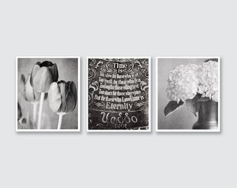 Bedroom Print or Canvas Wrap, Romantic Art, Black and White Photography, Elegant Decor, Dining Room, Anniversary Gift, Wedding Gift Set.