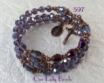 Crystal Rosary Bracelet,Rosary Wrap Bracelet,Purple Faceted Crystal Glass Beads,Religious Gift,Catholic Jewelry,Our Lady Beads,#597