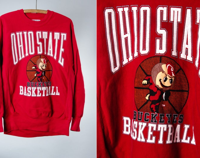 Medium Ohio State Basketball 1980s 1990s Vintage Sweatshirt | Distressed Brutus Buckeye Crew Neck | Unisex 5FF