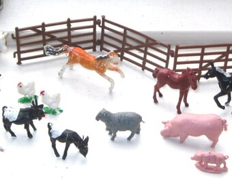 Miniature Hong Kong Farm Animals with Fencing and Farmer