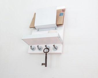 SMALL SPACE ORGANIZER: Mail Phone Wallet Device Key Organizer, Key Hooks Shelf Mail Holder, Minimal Modern Entry Home Office Organization