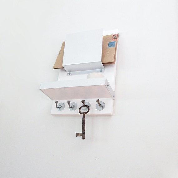 SMALL SPACE ORGANIZER: Mail Phone Wallet Device Key Organizer, Key Hooks Shelf Mail Holder, Minimal Modern Entry Home Office Organization