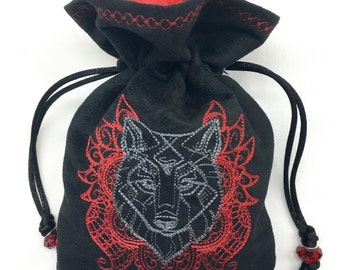 WOLF TOTEM - Faux Suede Machine-Embroidered Pouch - Bag for Dice, Tarot Cards, Wristlet Purse