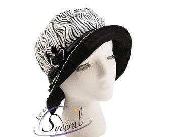 Ladies summer zebra hat, sun hat, beach hat, zebra hat, travel hat, women hat, women summer hat